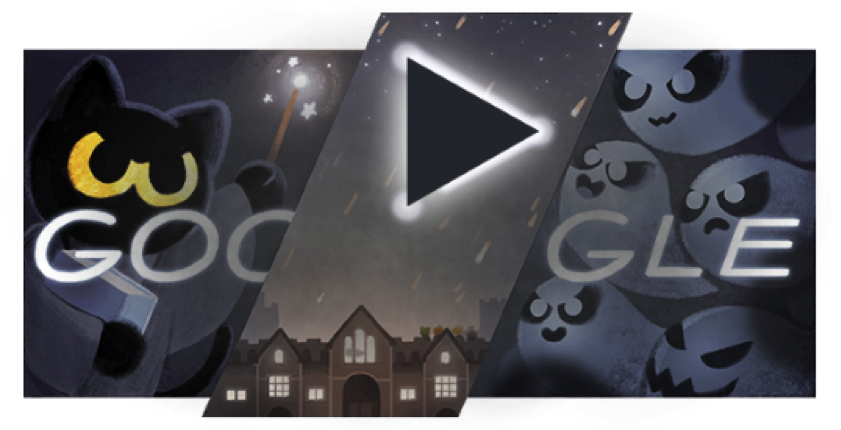 Top interactive animated google doodles fudge animation halloween 2016 31 october 2016 ccuart Image collections